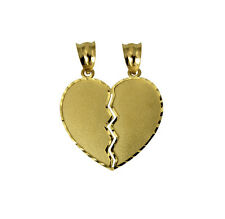 14K Yellow Gold Medium Couple Broken Breakable Split Heart Charm Pendant