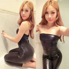 Girls Womens Faux Leather Black Bodysuit Jumpsuit Stage Catsuit Dancer Clubwear