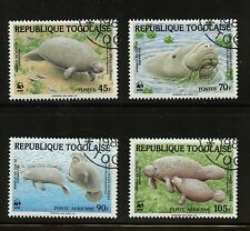 WWF Endangered Animals Manatees Set of 4 stamps CTO 1984 Togo #1241-4 Sea Cows
