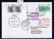 66906) LH FF München - Südafrika South Africa 1./2.12.2001, Karte ab UNO Genf