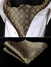 RF325GS Green Yellow Floral Men Silk Cravat Scarves Ascot Tie Handkerchief Set