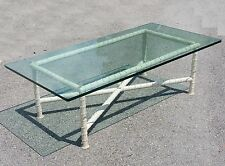 MAISON BAGUES ERA 1950's HOLLYWOOD REGENCY FAUX BOIS BAMBOO IRON COFFEE TABLE