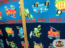 "Polar Fleece Fabric Print STREET LIFE / 60"" W / Sold By the Yard N-202"