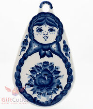 Gzhel Porcelain cheese cutting board Russian Matryoshka doll Souvenir handmade