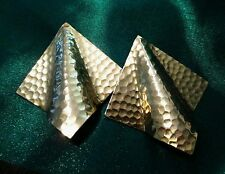 Vintage Earrings hammered Goldtone clip on unique chunky #jewelry #Fashion