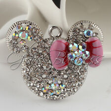 1PC 34x42mm Mouse Head Pink Bow Rhinestone Pendant For Bubblegum Chunky Necklace