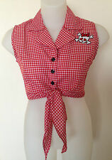 """Rockabilly Pinup Sexy Sleeveless Tie Up Top Skull detail Red/White SIZE L  38"""""""