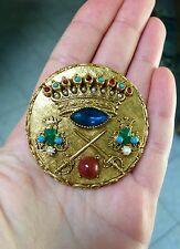 RARE FABULOUS ART SIGNED CROWN SWORD MEDALLION BROOCH