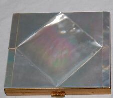 Vintage Mother of Pearl Compact Gold Brass MOP Make Up Case Powder Mirror 50s