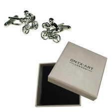 Mens Cycle Racer Bike Sport Cufflinks & Gift Box By Onyx Art