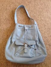 NWOT Baby Blue Ralph Lauren Hobo Drawstring Bag Pebbled Leather