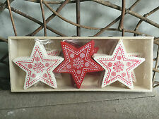 Heaven Sends cream and red wooden Nordic star Christmas decorations box of 12