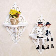 White Filigree Style Wall Shelf Chic Creative Holder Home Bedroom TV Decoration