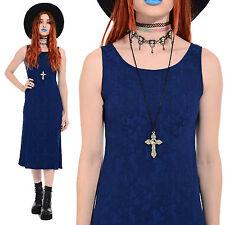 Vtg 90s Grunge EMBROIDERED Boho Gypsy Hippie Ethnic Festival Rayon Midi Dress