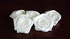 Fabric,White - Satin Ribbon Roses - Appliques,Trimmings,Wedding 3cm x 5