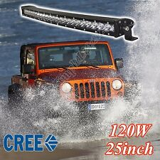 CREE LED Bar light 25 inch 120W 12V Single Row Curved Offroad Truck UTE Driving
