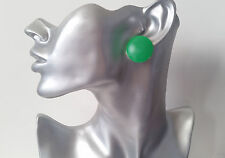 Big plain dark green flat plastic CLIP ON button style stud earrings retro  1""