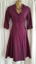 Brora Mulberry Plum Purple Brushed Cotton 40's WW2 Style Fit Flare Dress Size 8