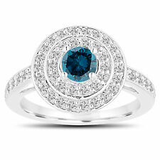 Double Halo Enhanced Blue Diamond Engagement Ring 14K White Gold 1.09 Carat