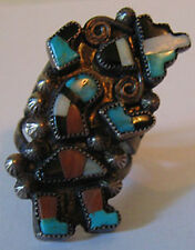 VINTAGE ZUNI INDIAN SILVER INLAID TURQUOISE CORAL ONYX RAINBOW MAN RING