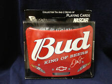 BUDWEISER NASCAR #8 DALE JR. COLLECTOR TIN & 2 DECKS OF PLAYING CARDS-NEW SEALED