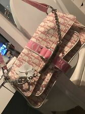 Authentic Pink And Ivory Christian Dior Handbag With Swarovski Crystals