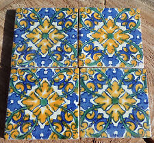 "36~Talavera Mexican 2"" tile pottery hand painted Charlotte Yellow Blue white"