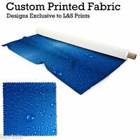 WATERDROPS BLUE DESIGN PRINTED FABRIC LYCRA JERSEY SPANDEX FROM £15.99 PER METRE
