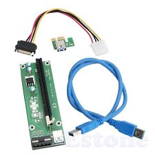 USB3.0 PCI-E Express 1x to16x Extender Riser Board Card Adapter SATA Cable Cord