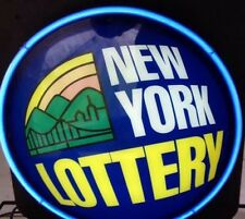 Vtg NEW YORK NY LOTTERY light NEON SIGN Lamp MAN CAVE Blue Flashing Lotto Zeon Z