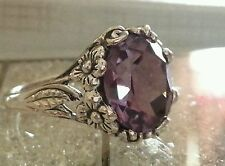 Alexandrite 6ct FINE Rare Big COLOR CHANGE flower set Silver .925 RING sz 7