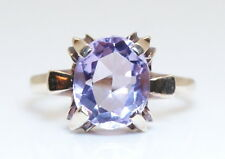 Beautiful Antique 10K Yellow Gold 3 Ct Solitaire Oval Amethyst Ring Size 6