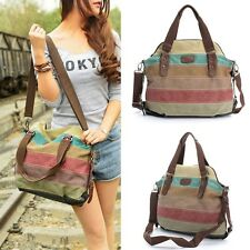 Women Canvas Shoulder Bag Handbag Hit Color Striped Messenger Lady Tote Satchel