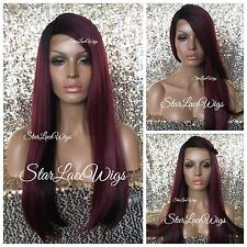 Long Straight Lace Front Wig Burgundy Dark Root Side Part Heat Safe Ok