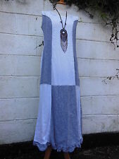 "EDEN ROCK LINEN MAXI DRESS WHITE BLACK  (S) 36"" BUST BNWT LAGENLOOK ETHNIC"