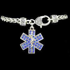 Womens EMT EMS Paramedic Star of Life Blue Sparkle Charm Rope Silver Bracelet