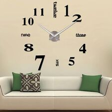 39'' Fashion 3D Numbers Large DIY Mirror Surface Wall Clock Sticker Home Decor