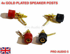 4x Gold Speaker Binding Posts Terminal - 4mm Sockets for Banana Plugs - 2 pair