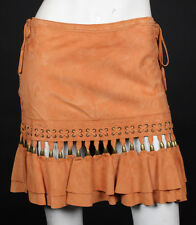 ROBERTO CAVALLI Coral Orange Suede Beaded Detail Flared Skirt XS