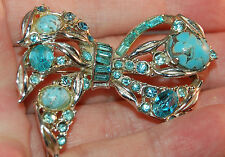 FABULOUS Art Glass & Rhinestone Inset Hollycraft Figural Bow Brooch! Stunning!