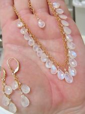 GENUINE NATURAL RAINBOW MOONSTONE FACETED BRIOLETTES GOLD FILLED NECKLACE SET