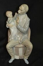 Vintage Lladro Porcelain Figure Grandfather with Child