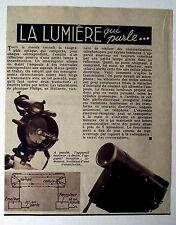 Article,photo,Appareil,la lumiére qui parle  Philips,telephonie par rayons 1938