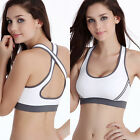 White Padded Bra Racerback Top Athletic Vest Gym Fitness Sports Yoga Stretch L