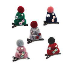 Women Girls Colorful Hair Braid Clip Knitted Hat Hairpin For Party Christmas
