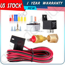 New 185 Degree Engine Cooling Fan Thermostat Temp Switch Sensor 40amp Relay Kit
