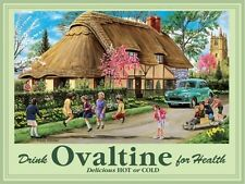 Ovaltine, Drink, Thatch Cottage, Morris Minor Car, Country Medium Metal/Tin Sign