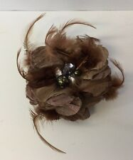 Feathered Brooch Jewels In A Nest Of Brown Feathers Clean Magnetic Clasp