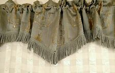 "Pair of Shavel curtain valances blue/gray &gold print 73"" X 16"" +3"" fringe ea"