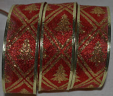 Wired Ribbon~Semi-Sheer Red~Sparkle Gold Christmas Tree~Holiday~Wreath~Gift~Bow